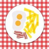 Eier, Chips und Speck Stockfoto
