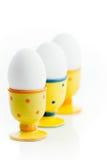 Eier in den Eierbechern Stockfotografie
