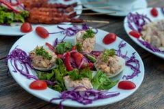 Eier deviled mit Thunfischverbreitung und Gemüsesalat lizenzfreies stockbild