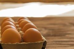 Eier in einem Behälter Stockfoto