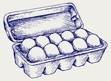 Eier in einem Kartonpaket Stockbild