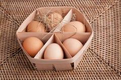 Eier in einem Kasten Lizenzfreie Stockfotos
