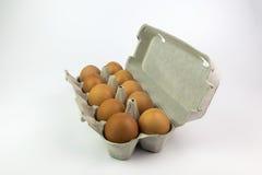 Eier in einem Kasten auf einem weißen Hintergrund Stockbilder