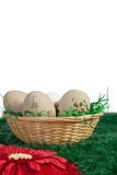 Eier in einem Korb gegen einen neutralen Hintergrund Lizenzfreie Stockfotos