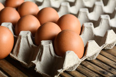 Eier in einem Papierbehälter Stockfoto