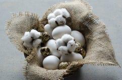 Eier in einer hölzernen Schüssel und in violetten Blumen auf dem Tisch Stockfotos
