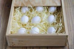Eier in einer Holzkiste Stockbilder