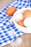Eier in einer Schüssel, in einem Tuch und in einer Feder Lizenzfreie Stockfotos