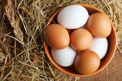 Eier in einer tiefen Schüssel Lizenzfreies Stockbild