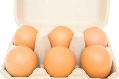 Eier im Eierkarton lokalisiert auf Weiß Stockfoto