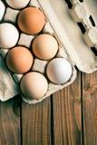 Eier im Eikasten Stockbild