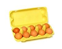 Eier im Kasten getrennt auf Weiß Lizenzfreie Stockfotos