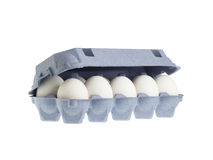 Eier im Paket Stockbild