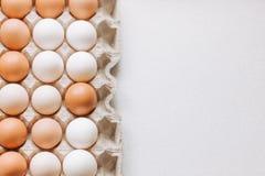 Eier im Paket auf einem hellen Hintergrund lizenzfreie stockfotografie