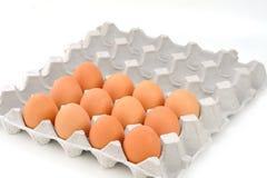 Eier im Papierbehälter lokalisiert auf Weiß Stockfotografie