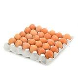 Eier im Papierbehälter lokalisiert auf Weiß Stockfoto