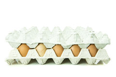 Eier im Papiertellersegment getrennt auf weißem Hintergrund Stockfotografie