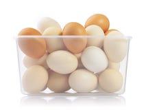 Eier im Plastikkasten Stockfoto