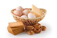 Eier, Käse, Gebäck Lizenzfreie Stockbilder