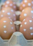Eier am Kasten Stockfoto