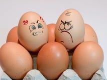 Eier mit gemalten Gesichtern Foto für Ihr Design Konzept des Gelenkes Stockbild