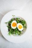 Eier mit Sprösslingen auf Platte Stockfoto