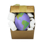 Eier mit Welterdbeschaffenheit Stockfotos