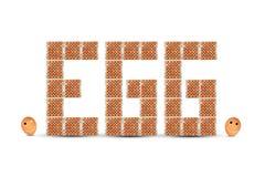 Eier in Papierbehälter formimg in Text ` ärgern ` mit zwei lächelnden Eiern auf weißer Tabelle und Hintergrund Stockfotografie
