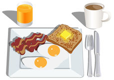 Eier, Toast, Speckfrühstück stock abbildung