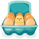 Eier und Huhn im Karton lizenzfreie abbildung