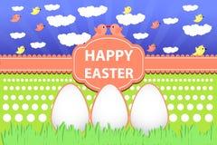 Eier von Osterferien auf Gras und Himmel lizenzfreie abbildung