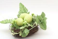 Eier, Wiesenschaumkraut und gestreifter Stoff Verschachteln Sie mit grünen Eiern Stockbild
