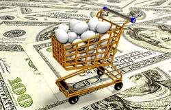 Eieren in boodschappenwagentje, 3D illustratie Stock Afbeelding