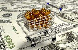 Eieren in boodschappenwagentje, 3D illustratie Stock Afbeeldingen