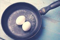 Eieren in de pan Royalty-vrije Stock Afbeeldingen