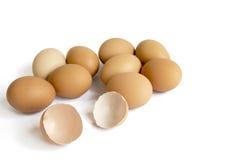 Eieren die op witte achtergrond worden geïsoleerdk Stock Foto's