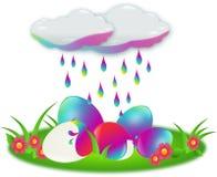 Eieren door regen worden gekleurd die Stock Afbeelding