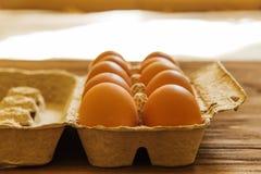 Eieren in een dienblad Stock Afbeeldingen