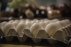 Eieren in een kartondienblad royalty-vrije stock foto's