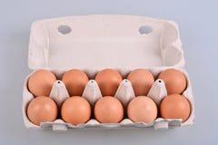 Eieren in een kartondoos Stock Afbeeldingen