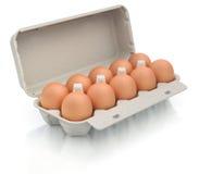 Eieren in een kartonpakket Stock Afbeelding