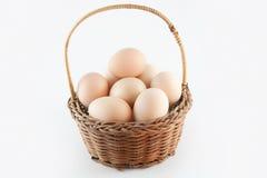 Eieren in een mand Royalty-vrije Stock Afbeelding