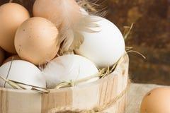 Eieren in een mand Hoogste mening van eieren in kom Bruine eieren in houten kom Kippenei De mand van kippeneieren Royalty-vrije Stock Afbeelding