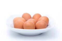 Eieren in een schotel royalty-vrije stock fotografie
