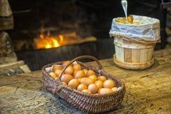 Eieren en boter Stock Afbeeldingen