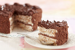 Eieren en chocoladecake Stock Afbeelding