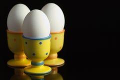 Eieren in gestippelde eierdopjes op zwarte Royalty-vrije Stock Fotografie