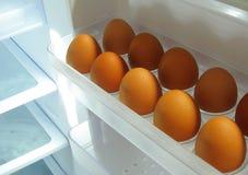 Eieren in ijskast Royalty-vrije Stock Afbeelding