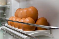 Eieren in ijskast Stock Foto's