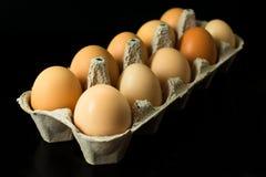 Eieren in karton voor het opslaan van en het vervoeren van kippeneieren op een zwarte achtergrond worden geïsoleerd die royalty-vrije stock fotografie